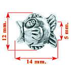 Бусина Шарм Рыба, Металлическая, Цвет: Серебро, Размер: 12*14*9 мм., Отверстие 5 мм. Бусина в стиле Пандора, фото 2