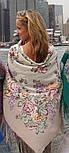 Аромат любви 1378-1, павлопосадский платок (шаль, крепдешин) шелковый с шелковой бахромой, фото 2
