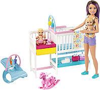 """Оригинальный детский игровой набор Барби Детская комната """"Уход за малышами"""" Barbie Skipper Babysitters GFL38"""