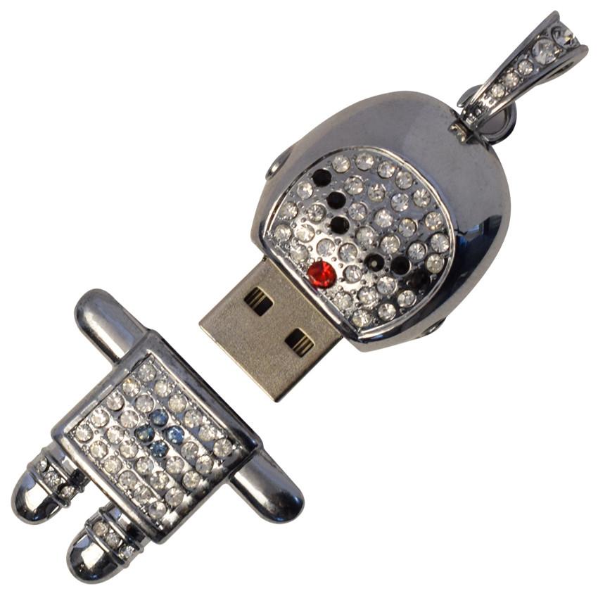 """Ювелирный флеш-накопитель """"Робот будущего"""", 4Гб, серебрянный цвет (03904ГБ)"""