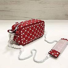 Cумка коробочка стеганная фактура с белой фурнитурой / натуральная кожа #871 Красный