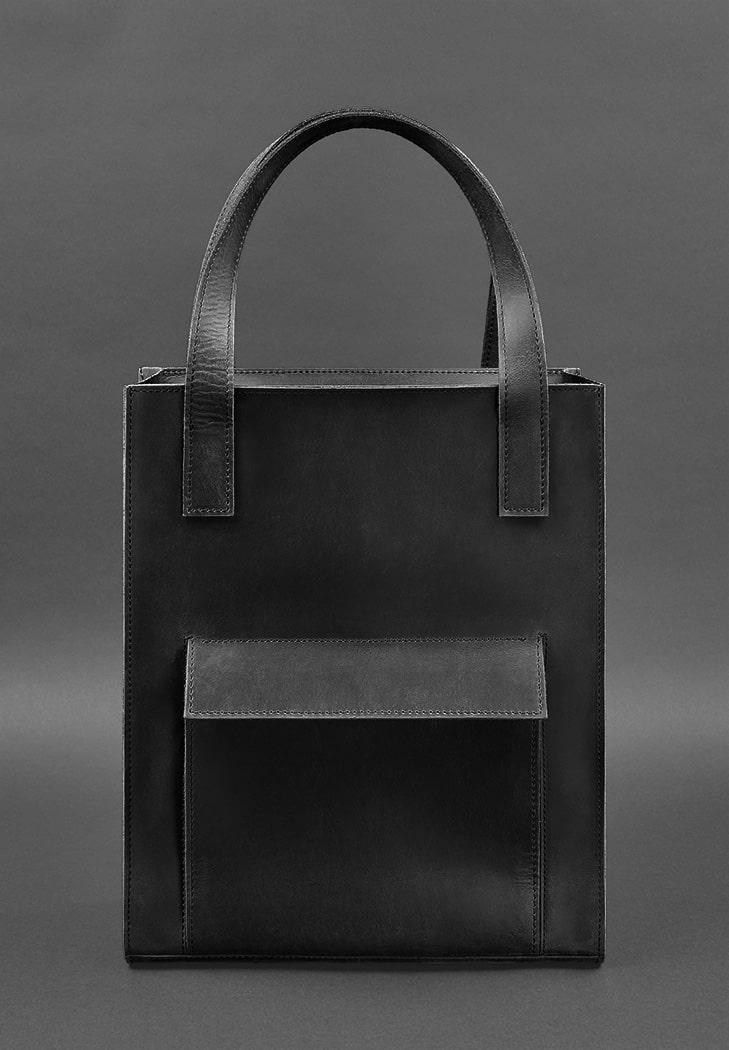 Сумка женская большая шоппер с карманом кожаная черная (ручная работа)
