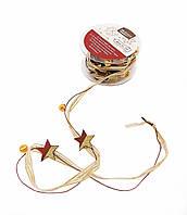 F1-00471, Декоративная лента новогодняя с бубенцами, 3 м, , золотой