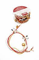 F1-00472, Декоративная лента - нить новогодняя с бубенцами, 3 м, , золотой-красный