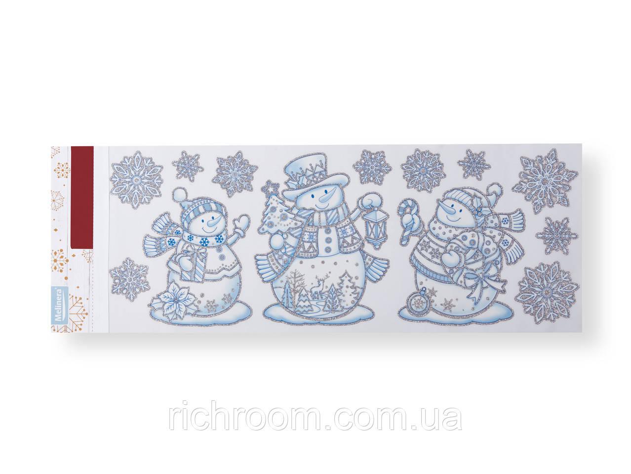 """Набор новогодних наклеек для окон """"Снеговички"""", 13 шт. Melinera, наклейки новогодние 59 х 21 см"""