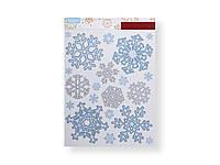 "F1-00482, Набор новогодних наклеек для окон ""Снежинки"", 20 шт., , голубой-белый"