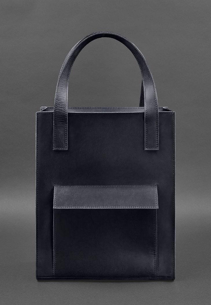 Сумка жіноча велика шоппер з кишенею шкіряна синя (ручна робота)