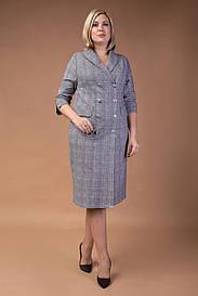 Стильное офисное платье с двубортной застежкой больших размеров