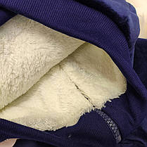 Стильный бархатный костюм двойка утепленный на меху 1-4 года синий Мишка, фото 2