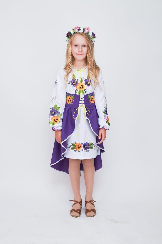 Костюм  вышитый Волинські візерунки для девочки  Анютины глазки  140 см (фиолетовый)
