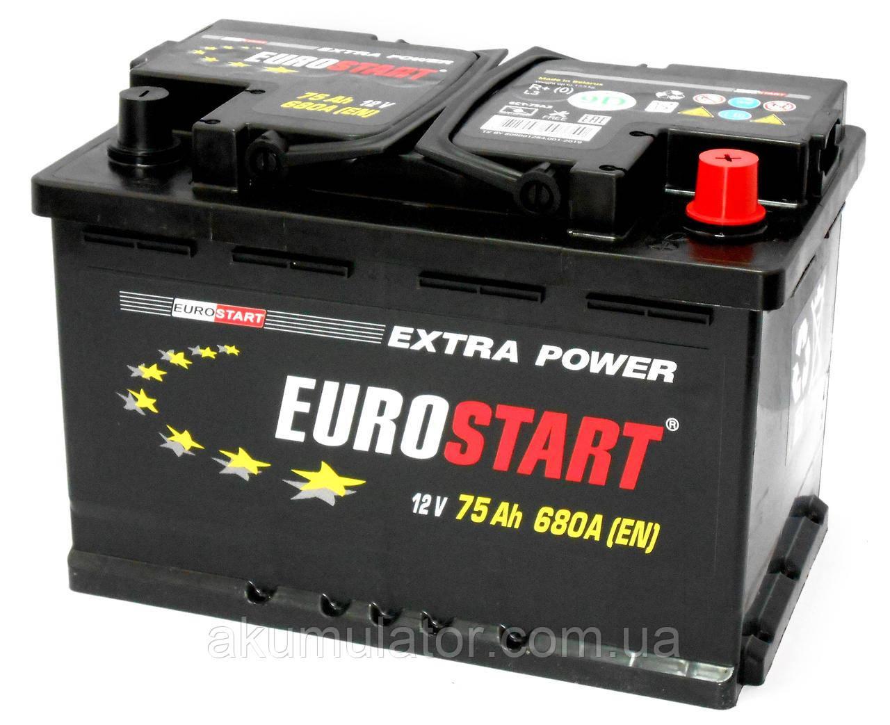 Акумулятор автомобільний EUROSTART 75 (R+)