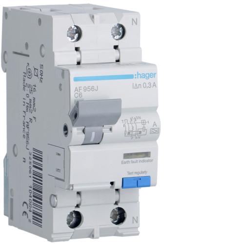 Дифференциальный автоматический выключатель Hager (ДАВ) 1P+N 6kA C-6A 300mA A (AF956J)