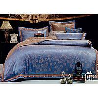 Синий евро комплект постельного белья сатин жаккард Tiare с абстрактным рисунком