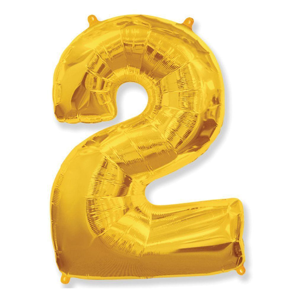 "Фольгована кулька цифра Gold ""2"" 40"".Flexmetal"