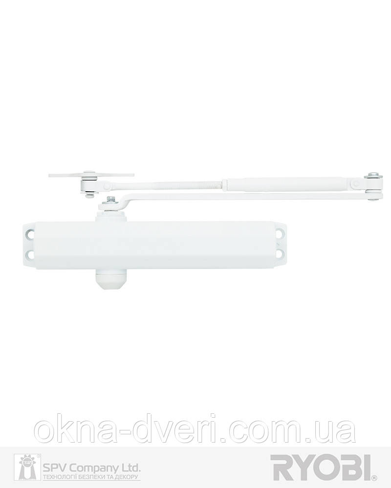 Доводчик протипожежний дверний RYOBI 2000 D-2005V GLOSSY_WHITE BC UNIV_ARM EN_3/4/5 до_100кг 1250мм FIRE