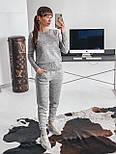 Женский теплый красивый вязаный костюм с жемчугом (пудра, чёрный, серый, бордо), фото 4