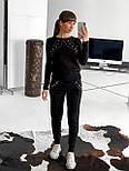 Женский теплый красивый вязаный костюм с жемчугом (пудра, чёрный, серый, бордо), фото 6