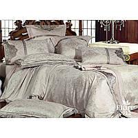 Белый евро комплект постельного белья из сатина жаккард Tiare з серым узором