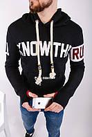 Кофта худи с капюшоном  мужская чёрная зимняя на флике с принтом