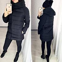 Женская зимняя куртка норма и батал цвет черный.