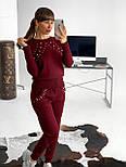 Женский теплый красивый вязаный костюм с жемчугом (пудра, чёрный, серый, бордо), фото 8