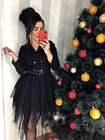 Платье чёрное с юбкой пачкой