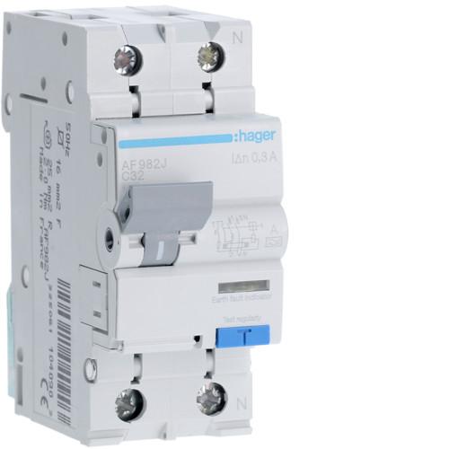 Дифференциальный автоматический выключатель Hager (ДАВ) 1P+N 6kA C-32A 300mA A (AF982J)