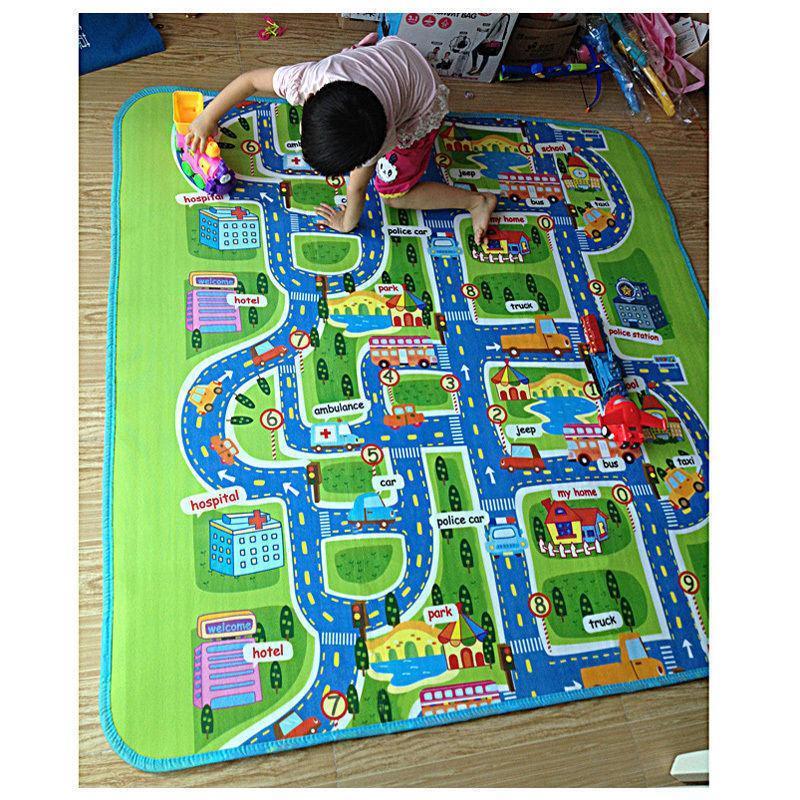 Мягкий детский коврик развивающий город дорога. 1.6м*1.3м