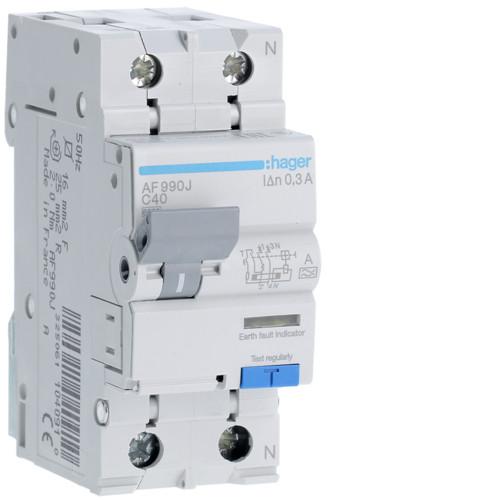 Дифференциальный автоматический выключатель Hager (ДАВ) 1P+N 6kA C-40A 300mA A (AF990J)