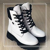 Женские зимние ботинки белая кожа, фото 1