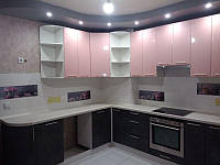 Кухня Хай-Тек (розовый перламутр +мрамор бетон темный), фото 1