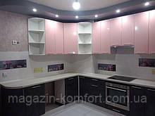 Кухня Хай-Тек (розовый перламутр +мрамор бетон темный)