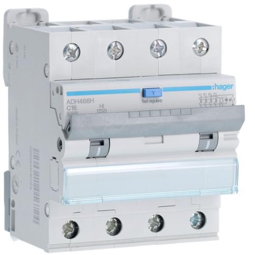 Дифференциальный автоматический выключатель Hager (ДАВ) 4P 6kA C-16A 30mA Hi (ADH466H)