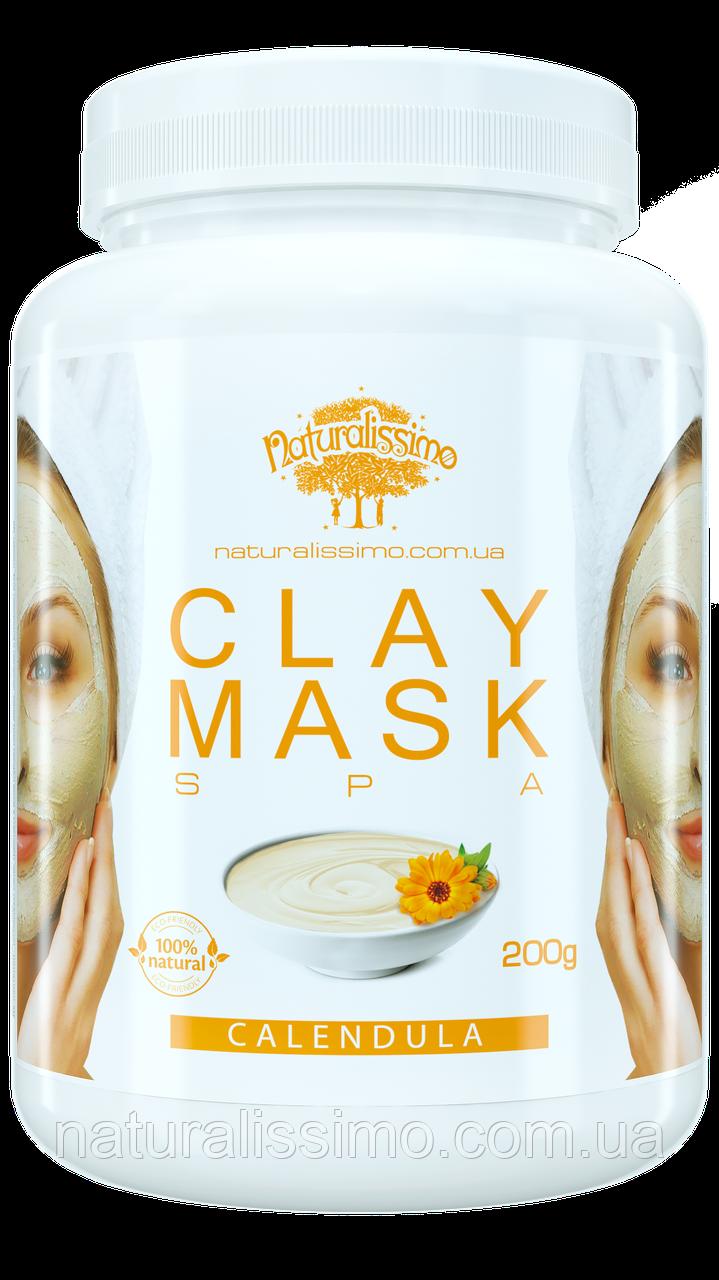 Глиняная маска Очищает и сужает поры, от воспалений и высыпаний, с календулой, 200г