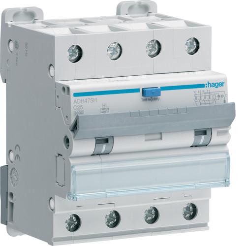 Дифференциальный автоматический выключатель Hager (ДАВ) 4P 6kA C-25A 30mA Hi (ADH475H)