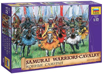 Набор пластиковых фигурок в масштабе 1/72. Конные самураи XVI - XVII вв. 1/72 ZVEZDA 8025, фото 2
