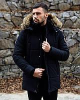 Люкс качество! Парка мужская зимняя до -35°С с мехом черная Canada | куртка мужская зимняя