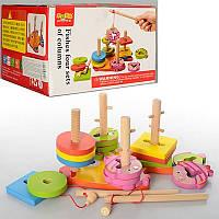 Дерев'яна розвиваюча іграшка Геометрик Рибалка