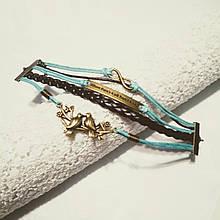 Кожаный браслет «Мотивация» 20 см малахит