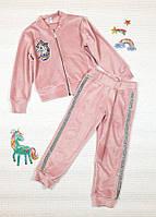 Красивый велюровый костюм на змейке для девочки р 110-128 пудра