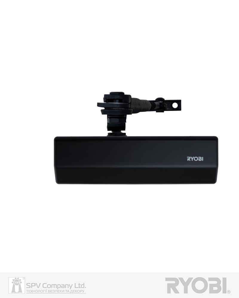 Накладной доводчик дверной с фиксацией RYOBI *1500 DS-1554 BLACK STD_HO_ARM EN_2/3/4 до_80кг 1100мм