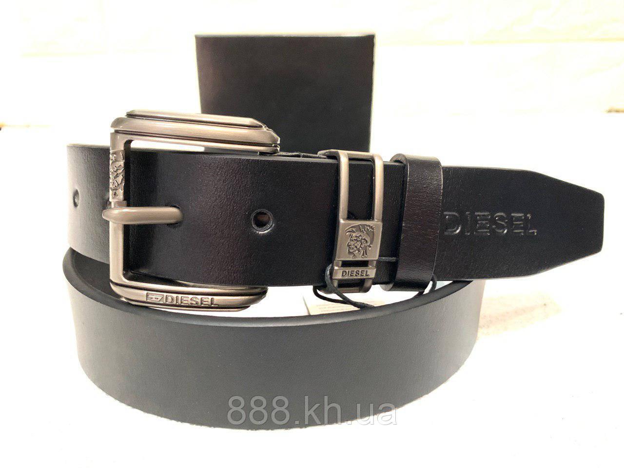 Мужской кожаный ремень Diesel, черный ремень
