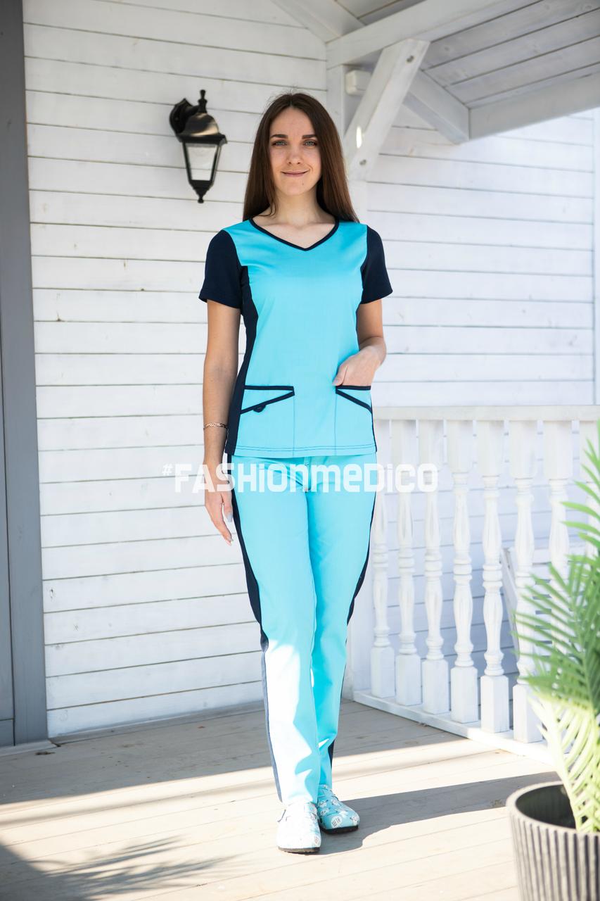 """Жіночий медичний костюм """"Альба"""" з трикотажними вставками"""