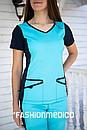 """Жіночий медичний костюм """"Альба"""" з трикотажними вставками, фото 2"""