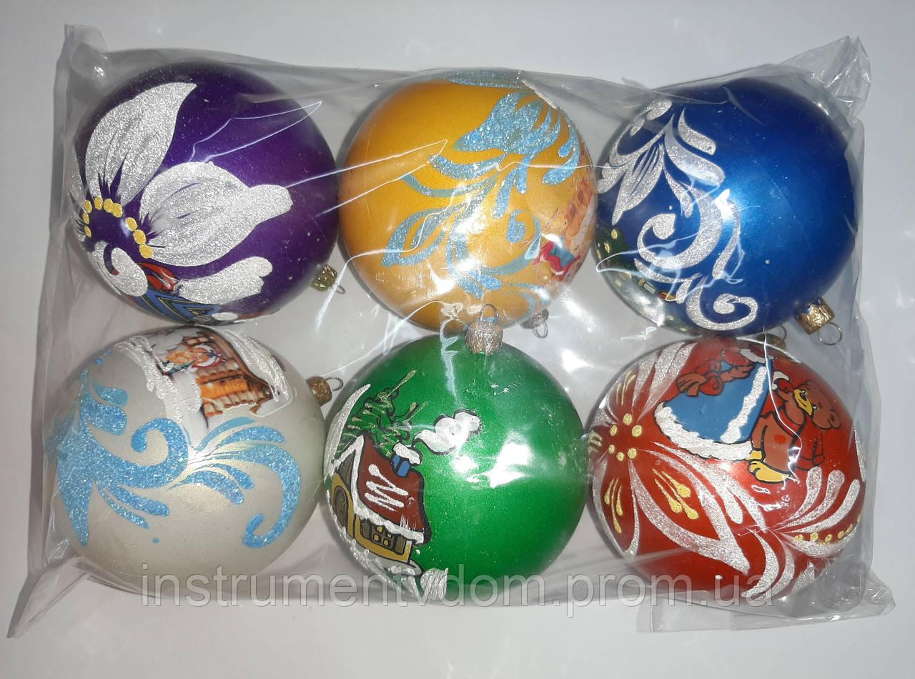 """Елочная игрушка """"Шар цветной Новогодний"""" (диаметр 10 см, упаковка 6 шт)"""