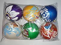 """Елочная игрушка """"Шар цветной Новогодний"""" (диаметр 10 см, упаковка 6 шт), фото 1"""