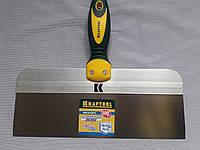 Фасадный шпатель 300 мм KRAFTOOL с 2-компонент ручк, профилиров нержав полотно 10036-300