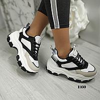 Женские кроссовки на платформе с коротким мехом, ОВ 1160, фото 1