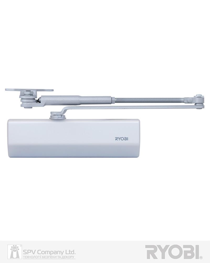 Доводчик фиксирующий с регулировкой скорости  RYOBI *1500 DS-1554P SILVER PRL_HO_ARM EN_2/3 до_60кг 965мм