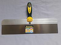 Фасадный шпатель 450 мм KRAFTOOL с 2-компонент ручк, профилиров нержав полотно 10036-450